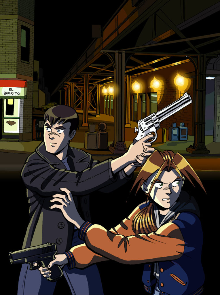 PART TWO: AGITATION - Two police detectives cautiously stalk a Chicago street at night under the train tracks with their guns drawn. Anime, manga, comics, digital painting, illustration.