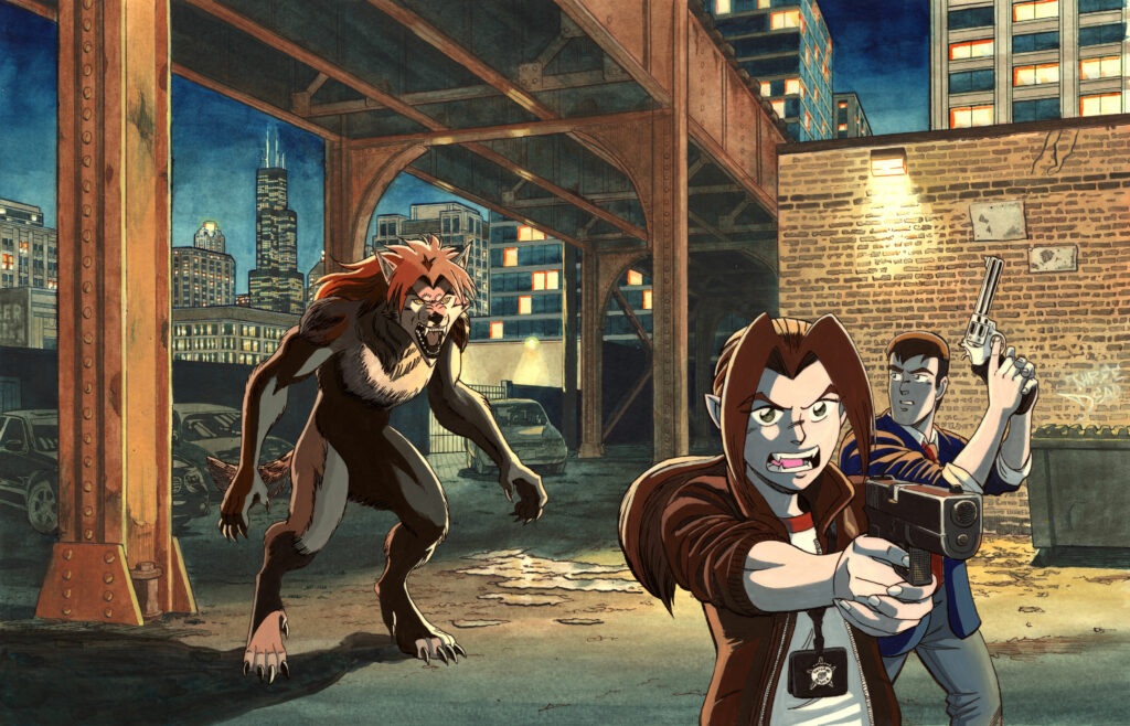 """The Art of Paradigm Shift Cover - """"Under the Tracks"""" - A pair of Chicago police detectives pull their guns in an alleyway under the train tracks with a fierce werewolf behind them. Anime, manga, comics, gouache, acrylic, painting, illustration."""