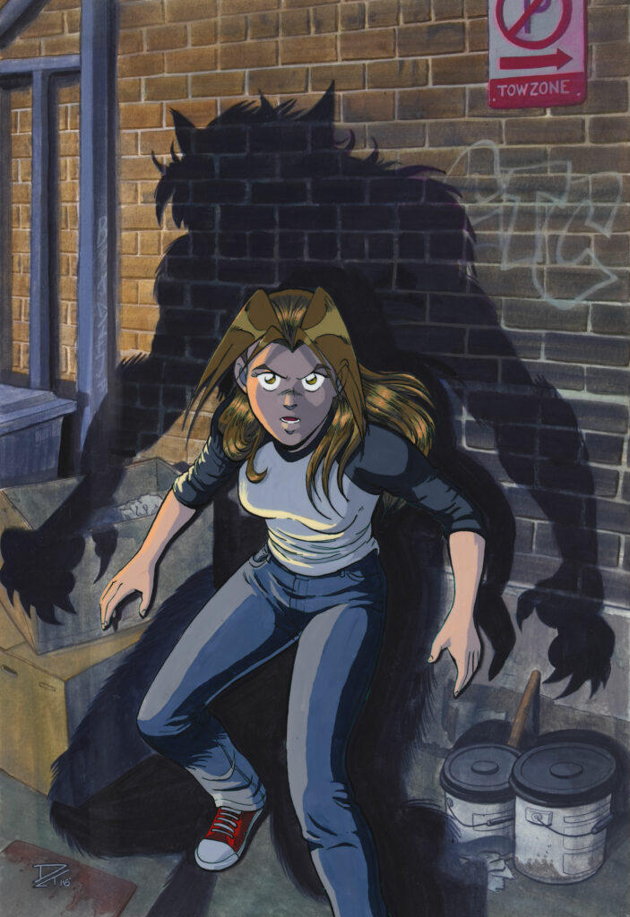 Cornered - An alarmed young woman backed into a corner in a brick alleyway with the shadow of a werewolf looming over her. Anime, manga, comics, gouache, acrylic, painting, illustration.