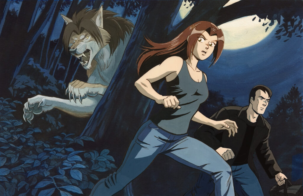 Flight - A man and a young woman step out of the dark woods under a full moon with a fierce werewolf eyeing them from behind a tree. Anime, manga, comics, gouache, acylic, painting, illustration.