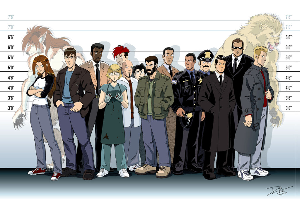 The Unusual Suspects - A police lineup featuring detectives, cops, FBI agents, a werewolf, and a werelion. Anime, manga, comics, digital painting, illustration.
