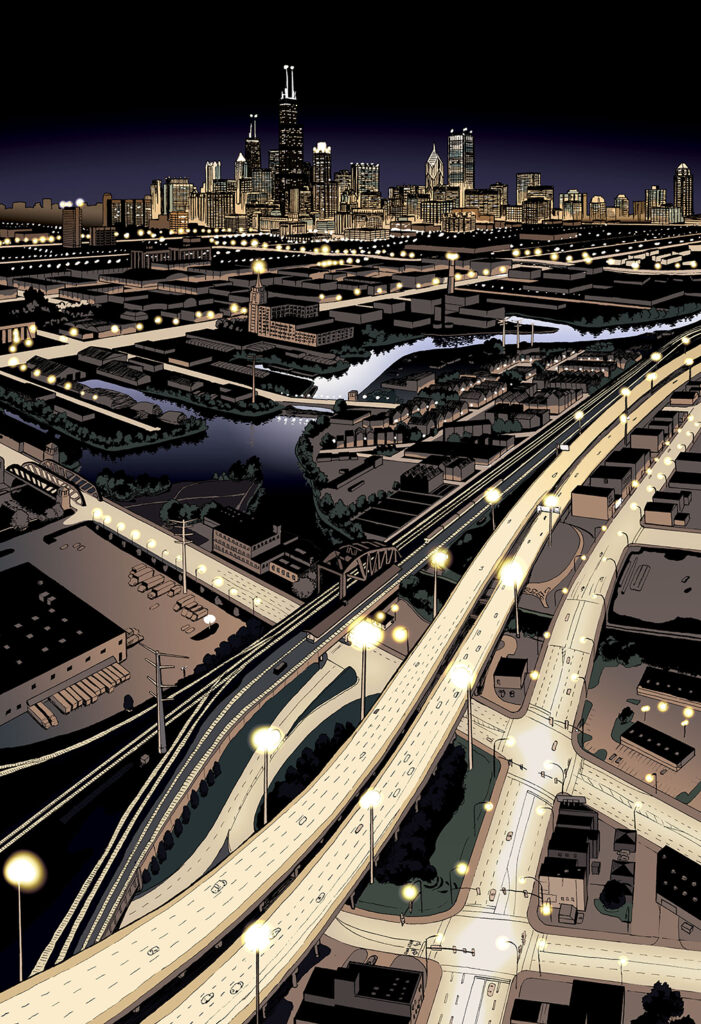 City Lights - The Chicago skyline at night as viewed from above the south west side. Anime, manga, comics, digital painting, illustration.
