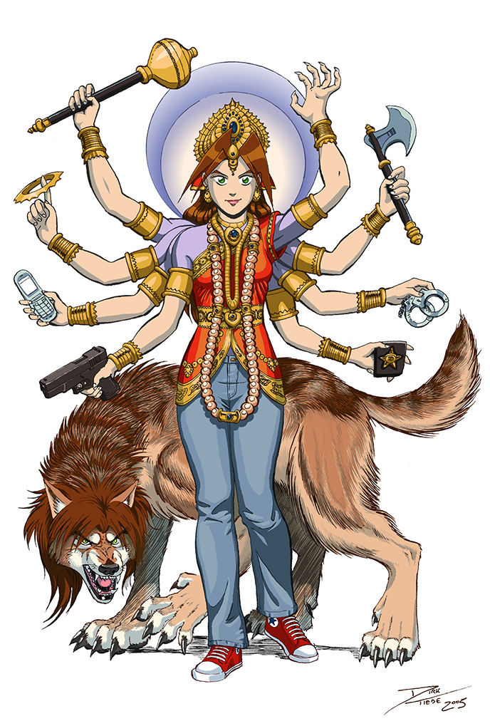 Durga Kate - A goddess holding a club, discus, cellphone, handgun, axe, handcuffs, police, badge, and claws, wearing red chuck taylors and jeans, and standing in front of a snarling werewolf. Anime, manga, comics, digital painting, illustration.