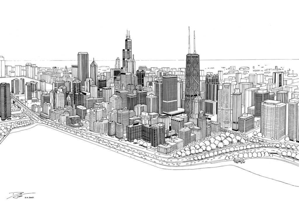 Lake Shore Drive - A pen and ink depiction of the Chicago skyline circa 2007, as viewed from above and facing westward along the edge of Lake Michigan. Comics, illustration.
