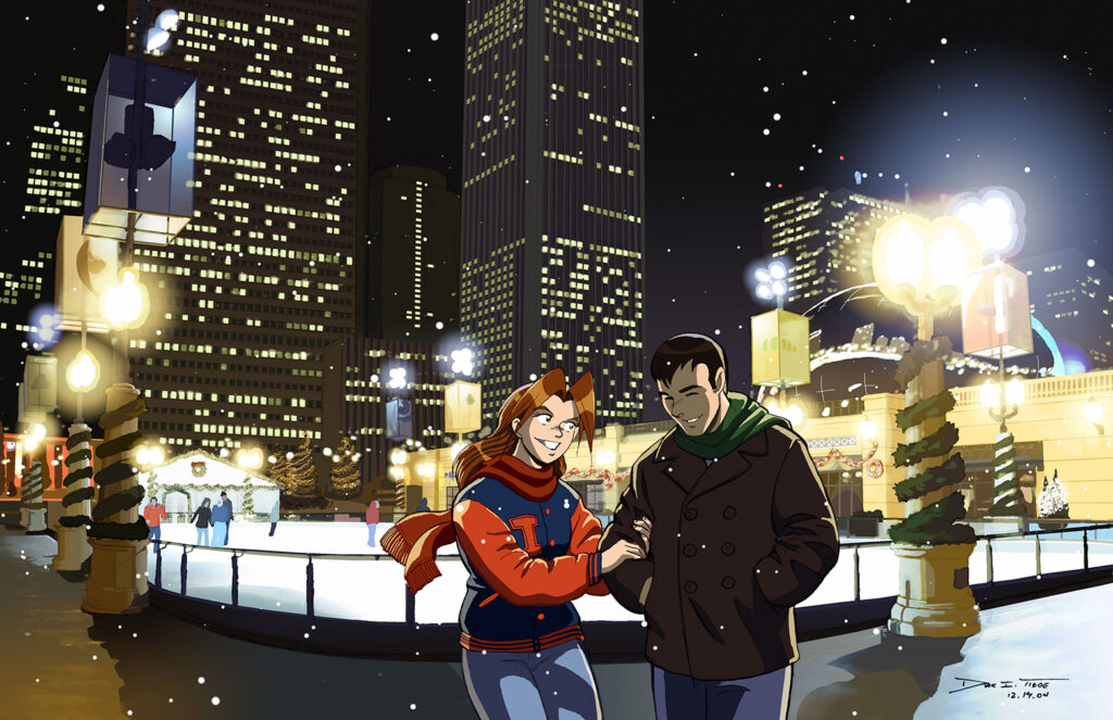 Millenium Park - A happy couple in the snow in Chicago's Millenium park, standing in front of the skating rink at night with lights of the skyscrapers of the Chicago skyline in the background. Anime, manga, comics, digital painting, illustration.