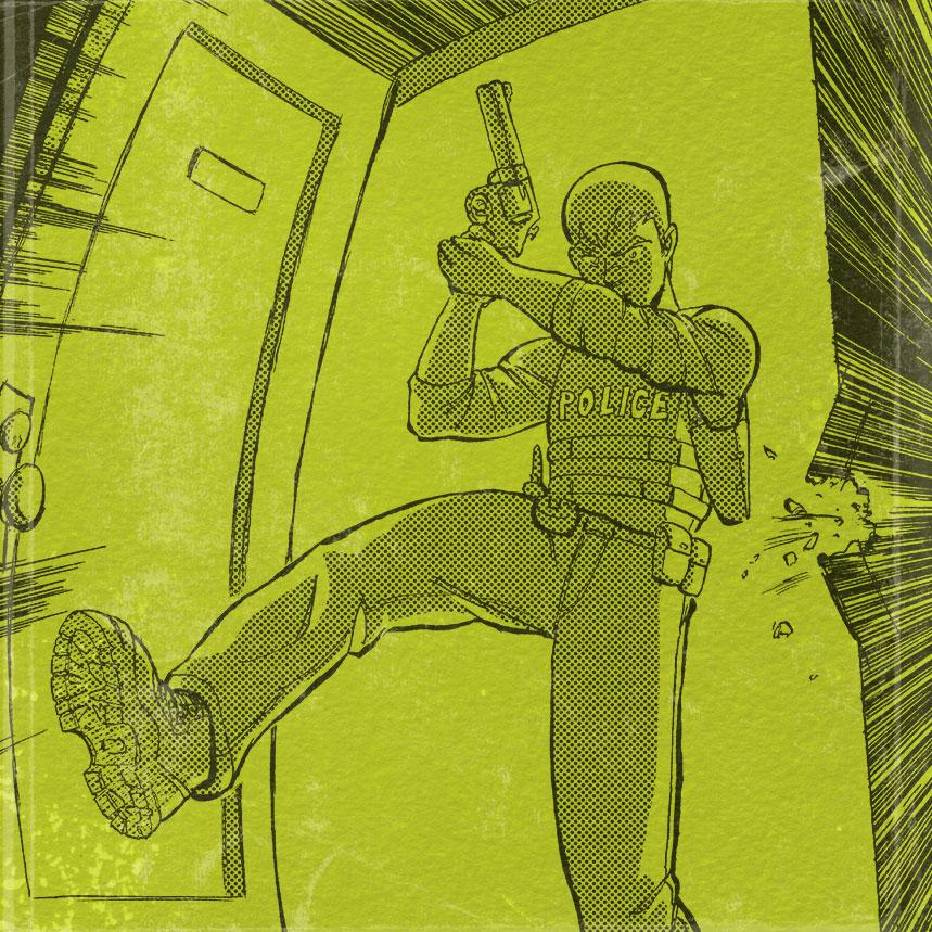 Mike kicking in a door.