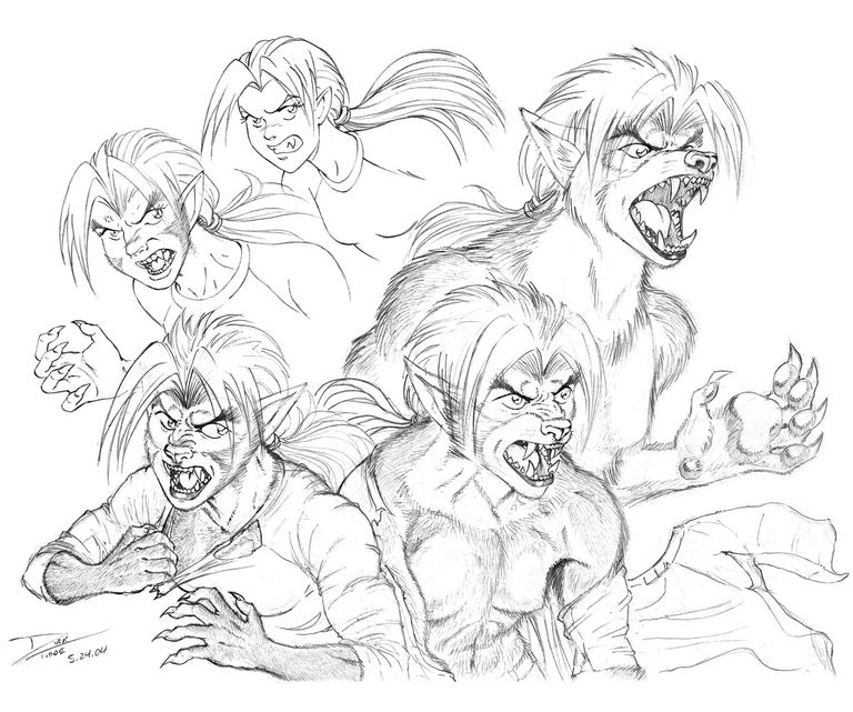 Transformation - A young woman transforms into a werewolf Anime, manga, comics, pencil, illustration.