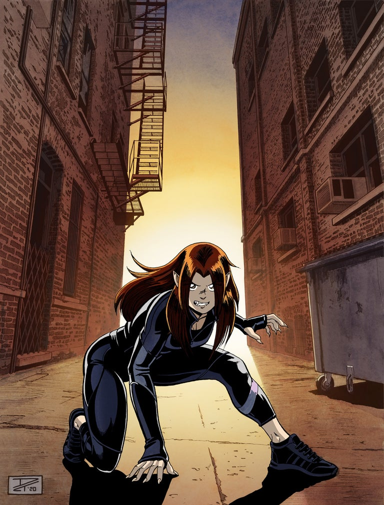 Kate Burglar - A fierce young woman in a skin-tight black outfit landing from a jump in a dramatically lit alleyway at night. Anime, manga, comics, watercolor, painting, illustration.
