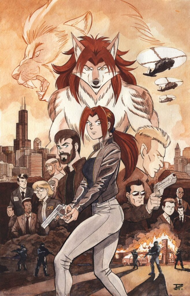 INSTINCT Epic Poster - An intense, armed young woman stands ready as the cast of Paradigm Shift, her werewolf form, a werelion, Blackhawk helicopters, Chicago, and Boston skylines are arrayed behind her. Anime, manga, comics, watercolor, painting, illustration.