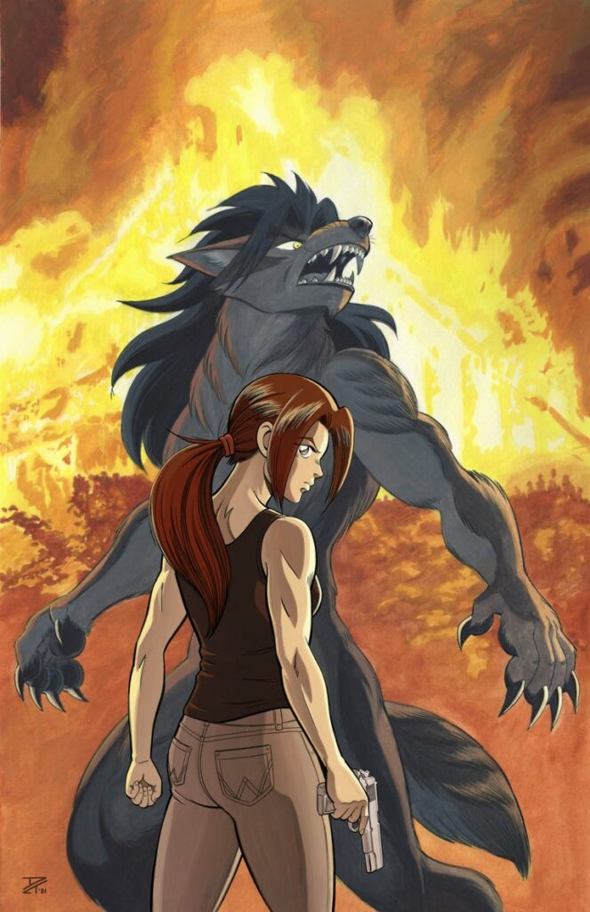 Burning Rage - painting of an intense, armed young woman with a raging werewolf and fire in the background. Anime, manga, comics, watercolor, painting, illustration.