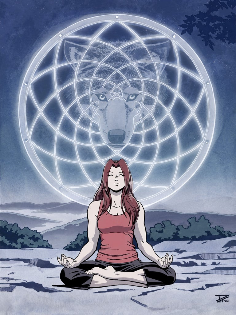 Spirit Wolf - A young woman meditating at night with a glowing mandala and ghostly wolf face behind her. Anime, manga, comics, watercolor, painting, illustration.